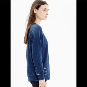 Madewell Rivet and Thread Indigo Sweatshirt
